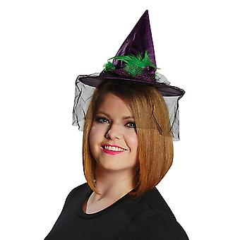Feathers witch Hat cord purple accessory Hat Carnival Halloween witch veil