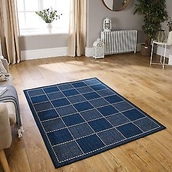 Checked Flatweave Blue  Rectangle Rugs Plain/Nearly Plain Rugs
