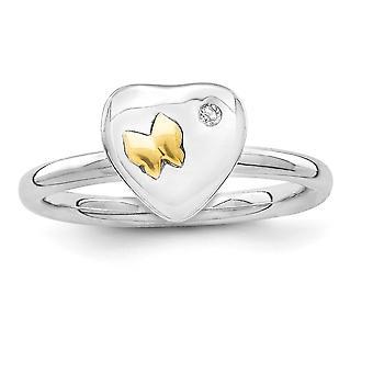 2,25 mm sterlingsilver rodium-klädd och 14k fjäril stapelbar uttryck Diamond Ring - Ring storlek: 5 till 10