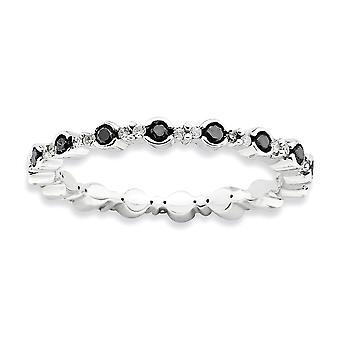 2,25 mm Sterlingsilber Lünette Zinke Satz rhodinierten stapelbar Ausdrücke poliert schwarz weiss Diamant-Ring - Ring Siz