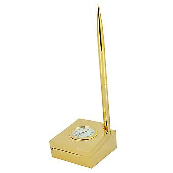 Gift Time Products Paper Clip Tray with Pen Desk Clock - Gold
