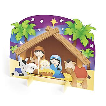 12 Nativity 3D klistremerke scener for Kids Christmas Crafts
