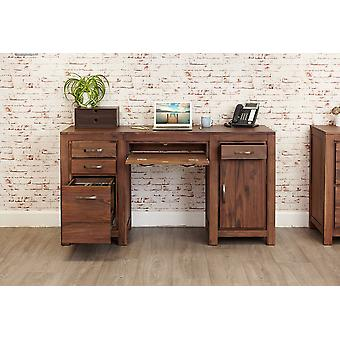 Mayan Walnut Twin Pedestal Computer Desk Brown - Baumhaus