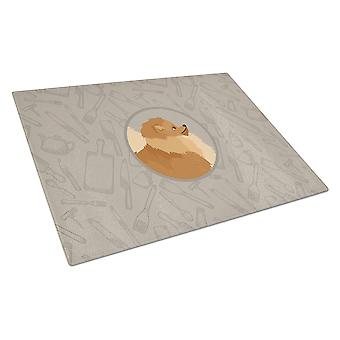 Pomeranian In the Kitchen Glass Cutting Board Large