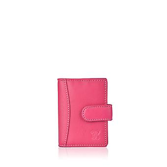 Leather Multi Credit Card Holder in Cranberry Pink