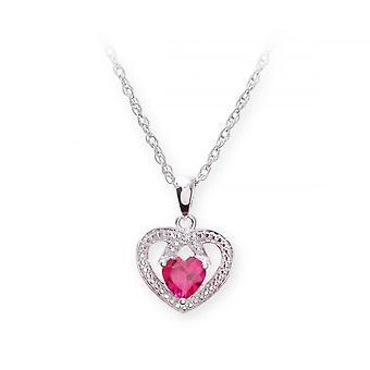 Stjärnan vigselringar Sterling Silverhalsband med Ruby Gem sten hjärta hängsmycke och diamanter