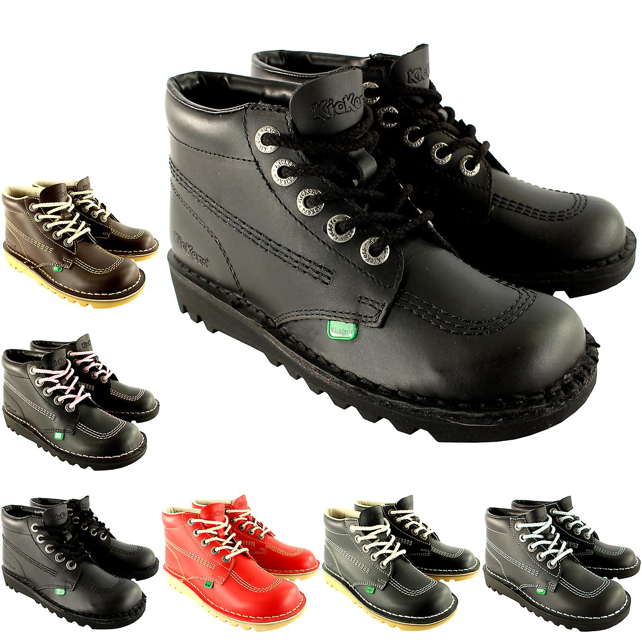 Enfant unisexe jeunes Kickers Kick Salut retour d'école en cuir bottes chaussures