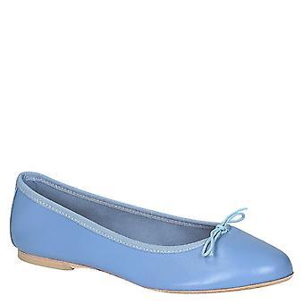 Light blue soft leather ballerinas