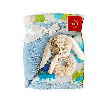 BlueberryShop Warm Fleece 2 Layers Blanket +  Soft Rattle Toy Gift Set Newborn Baby Shower Present