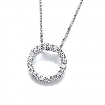 Cavendish French Silver and Glittering CZ Circle Pendant with 16-18