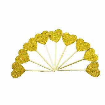 TRIXES Set of 10 Gold Glitter Heart Cake Toppers – Elegant Anniversary Wedding Engagement Decoration – Party Supplies