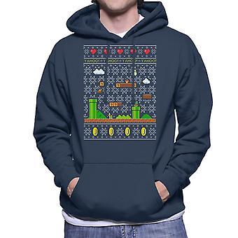 Super Mario Platform Christmas Knit Pattern Men's Hooded Sweatshirt