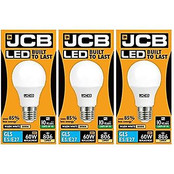 3 X JCB LED GLS Opal (Frosted) Household Light Bulb 10w Edison Screw 3000k Warm White [Energy Class A+]