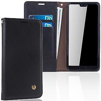 Mobiltelefon täcker fallet för Huawei P20 per täcka plånbok fodral-svart