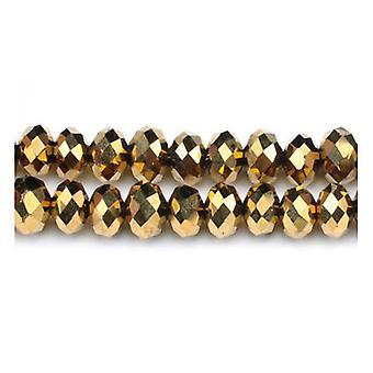 GC3534 koraliki Strand 90 + złoty czeski kryształ fasetowanych Rondelle, 4 x 6mm-2