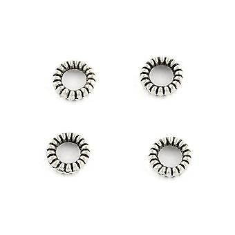 Packet 100+ Antique Silver Tibetan 4mm Donut Spacer Beads HA15195