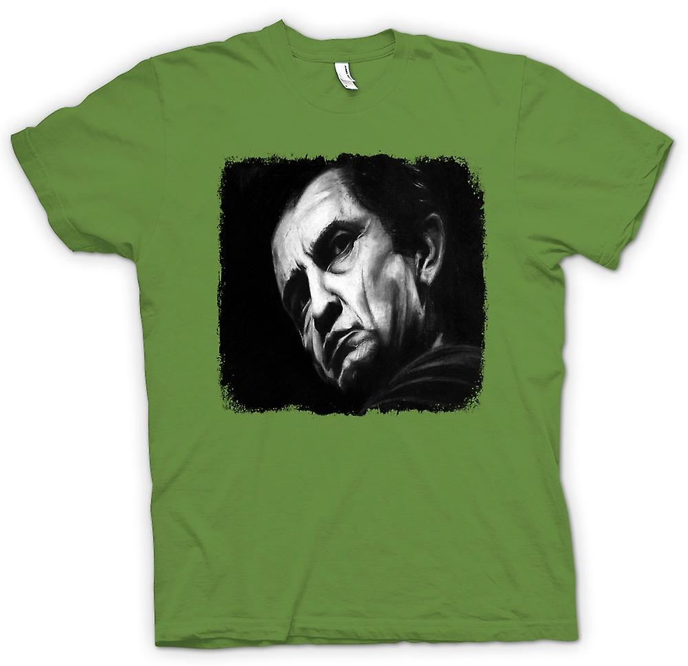 Herr T-shirt - Johnny Cash - skiss - porträtt