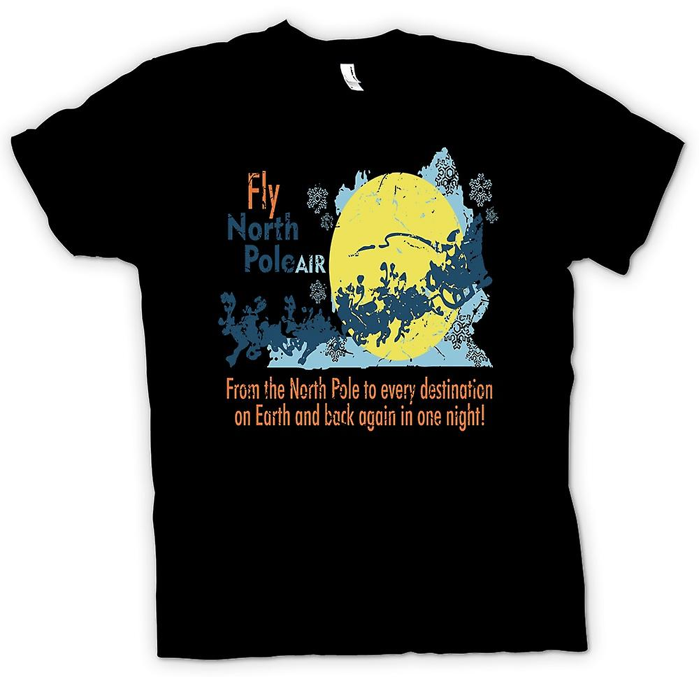 Mens T-shirt - Fly North Pole Air - Funny Santa