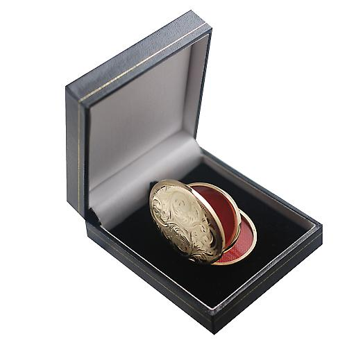 9ct Gold-45x35mm oval graviert 4 Foto Familie Medaillon