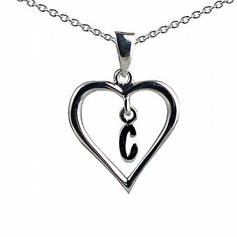 Silver 18x18mm initial C in a heart Pendant with a rolo Chain 20 inches