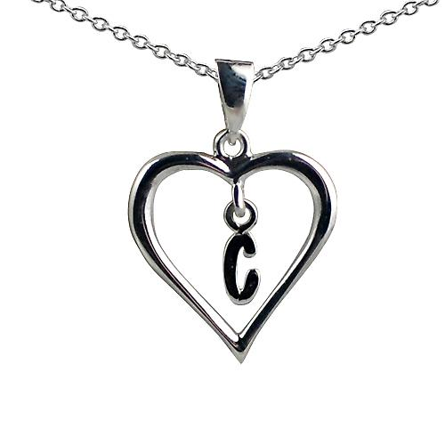 Silver 18x18mm initial C in a heart with Rolo chain