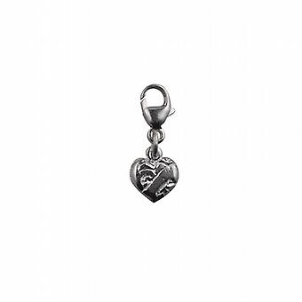 Silver 19x7mm heart symbol of charity Charm on a lobster trigger