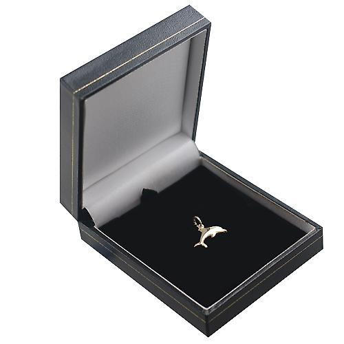 9ct Gold 9x19mm leaping dolphin Pendant or Charm