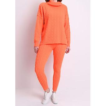 Roll Neck Cable Knit Loungewear Set Neon Orange