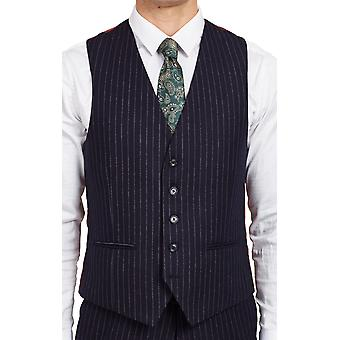 Dobell Mens Navy Waistcoat Tailored Fit Chalk Stripe