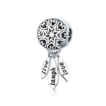 Sterling Silber Anhänger Charm Live, Laugh, Love