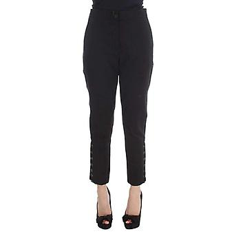 Ermanno Scervino Black Cotton Blend Capri Cropped Pants -- SIG3827312
