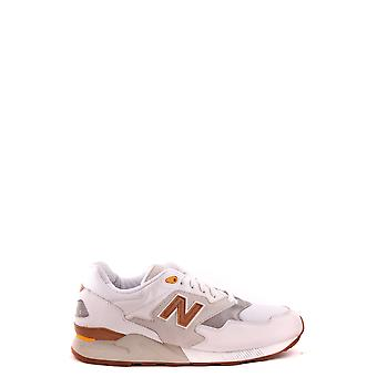 New Balance White Fabric Sneakers