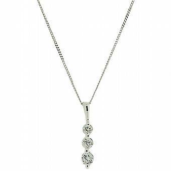 TOC Girls Sterling Silver Clear CZ Trilogy Pendant Necklace 14