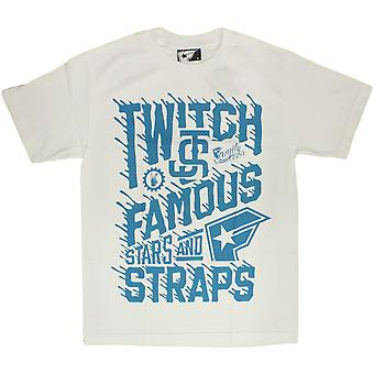 Famous Stars and Straps Twitch Spill T-Shirt White Turquoise