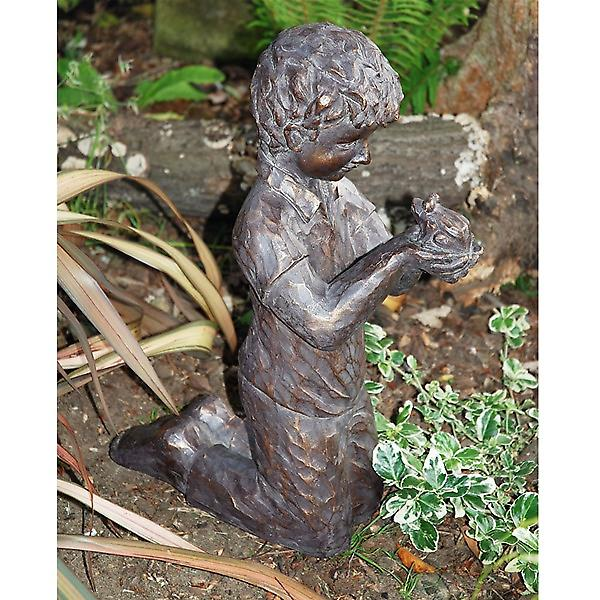 Boy with Frog Garden Ornament