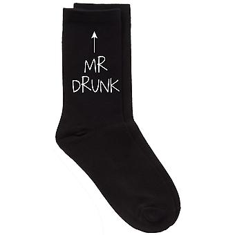 Mens Mr Drunk Black Calf Socks
