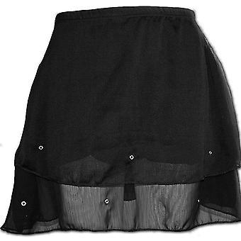 Spiral Direct Gothic GOTHIC ELEGANCE - Chiffon Stud Skirt Black|Gothic