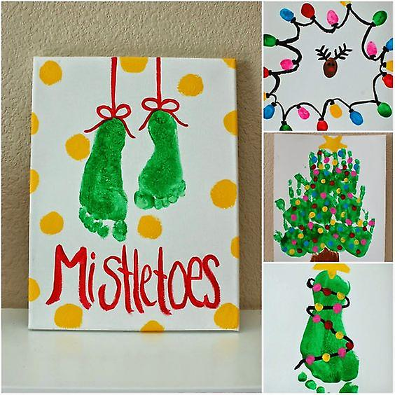 Giant Finger, Hand & Foot Print Paint Pad for Christmas Crafts, Cards, Ink, Reindeer, Mistletoe, Christmas Tree.