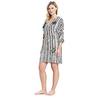 Feraud 3195317-16527 Women's Voyage Artstripe White Beach Dress Cover Up Kaftan