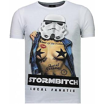 Stormbitch-Rhinestone T-shirt-White