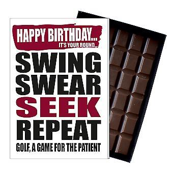Funny födelsedag gåva Golf Golf tema choklad gratulationskort presentera honom hennes IYF180