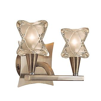 Mantra Rosa Del Desierto Wall Lamp Switched 2 Light G9, Antique Brass
