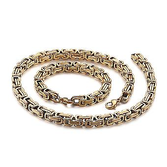5mm royal chain bracelet men's necklace men's chain necklace, 22cm gold stainless steel chains