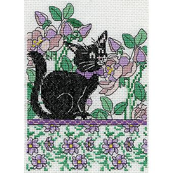 Chat Floral lila compté point de croix Kit 5 « X 7 » 14 Count Dw2805