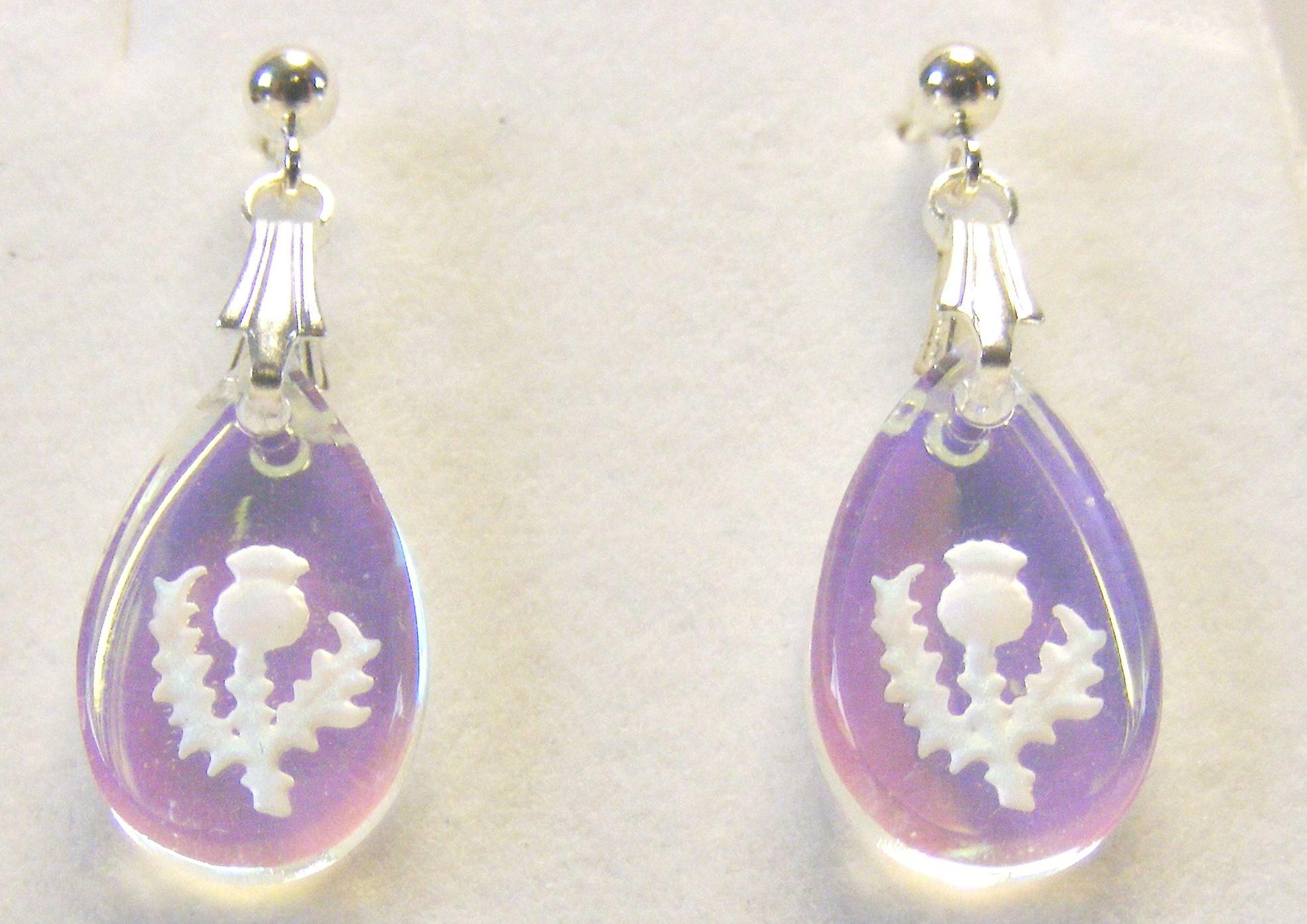 Aurora Borealis Thistle Teardrop Crystal earrings