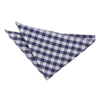Gingham verifica fazzoletto blu Navy / Pocket Square
