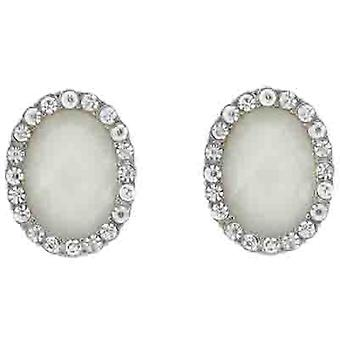 Clip On Earrings Store Ivory Facet Bead and Crystal Oval Clip On Earrings