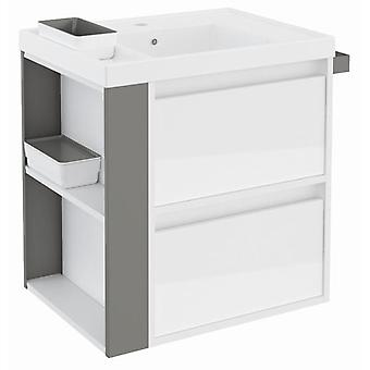 Bath+ Cabinet 2 drawers Basin Resin Gloss White Grey 60CM