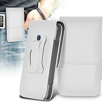 ONX3 (White) LG K3 Case High Quality Faux Leather Vertical Executive Pouch Holster Belt Clip Cover Case