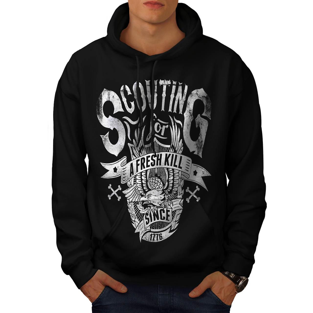 Eagle Fresh Kill Eat Scout Club Men Black Hoodie | Wellcoda
